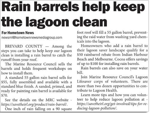 Rain Barrels help keep the lagoon clean